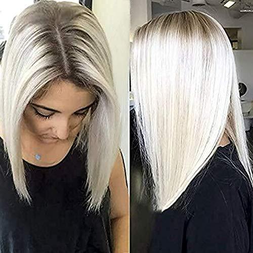 Ombre Weiße Blonde Perücke Gerade Kurze Bob Lace Front Perücke Glueless Brown verwurzelte synthetische Perücken für Frauen