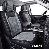 Yiertai Car Seat Covers Full Set Dodge Ram Custom Fit 2009-2021 1500 2010-2021 2500 3500 Pickup Truck Crew Double Quad Cab Waterproof Leather Laramie Big Long Horn Tradesman(Full Set, Black-Grey)