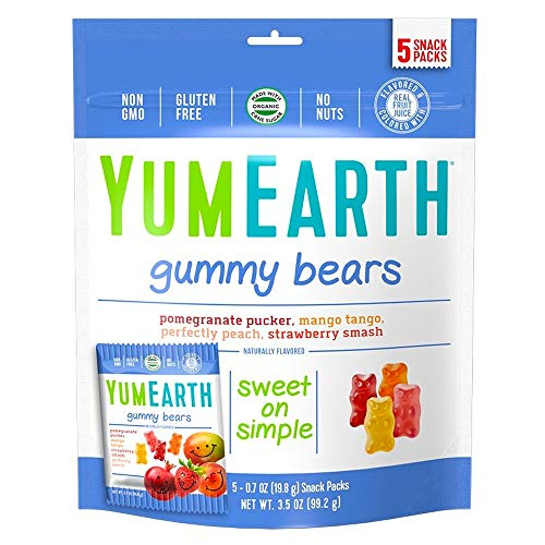 YumEarth Gluten Free Gummy Bears, Assorted Flavors, 5 Snack Packs Per Bag