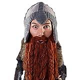 Beard Head Dwarf Warrior Beard Beanie - Epic Knit Dwarf Helmet and Fake Beard Brown