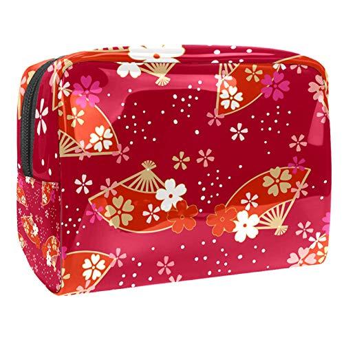 Janpanese Fan Sakura Rosy Red 7.3''x3''x5.1'' 7.3x3x5.1in(L xW xH) Travel Cosmetic Pocket Handbag