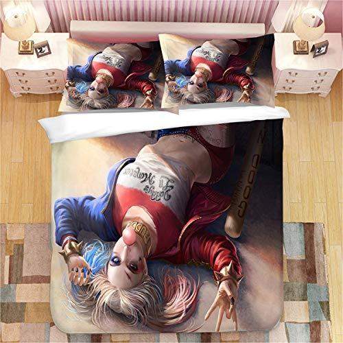 Harley Quinn - Funda nórdica de Harley Quinn para todas las estaciones (2,140 x 210 cm + 80 x 80 cm x 2)