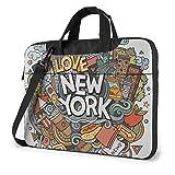 Cartone animato carino New York tema americano arte impermeabile laptop notebook spalla zaino borsa ventiquattrore Messenger 15.6 pollici