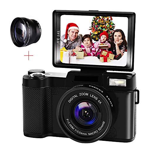 ZCFXGHH Fotocamera Digitale Videocamera Full HD 1080P 24.0MP videocamera 3,0 Pollici Flip Screen Vlogging videocamera Portatile con la Torcia elettrica a Scomparsa per Youtube