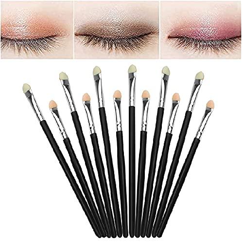 GIRAFEDA 12 Pcs Aplicador de Sombras en Esponja Pincel Sombra de Ojos Brocha Difuminar Ojos Pinceles Maquillaje Ojos Brocha con Esponja en la Punta para Aplicar las Sombras para Maquillaje de Ojos