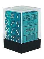 Chessex CHX23815 ダイス半透明:36D6セット 12mm ティール/ホワイト