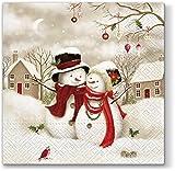 20 servilletas de muñeco de nieve, árboles, Navidad, invierno, 33 x 33 cm