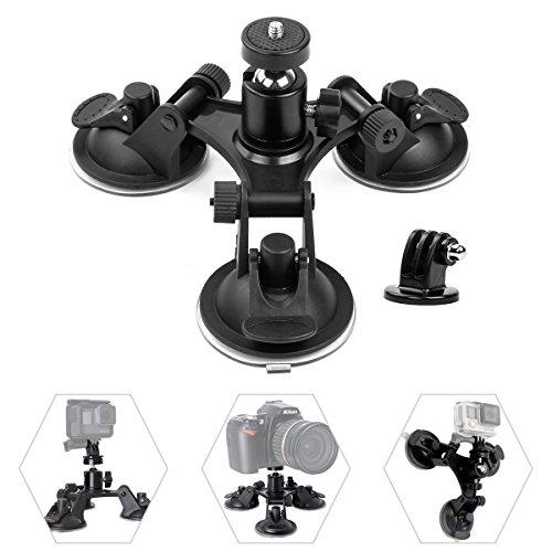 Geila Triple Cup - Kamera-Saugnapfhalterung - Dreifach-Saugnapfhalterung mit 1/4 Gewindekopf und 360 Grad Stativkugelkopf (Triple Cup)