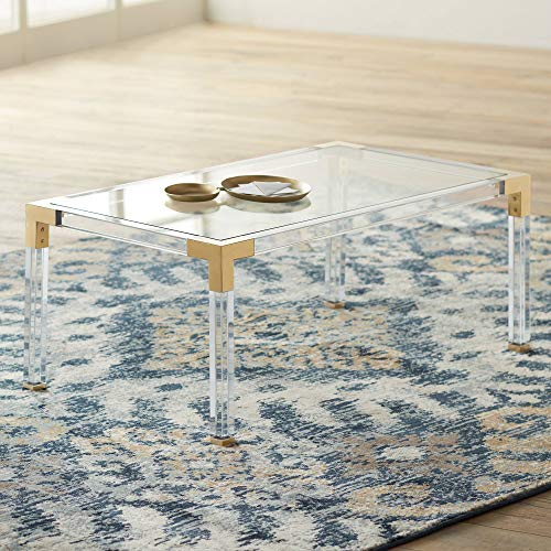 "Hanna 40"" Square Clear Acrylic Modern Coffee Table - 55 Downing Street"