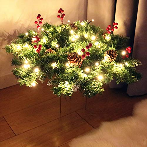 Kurala Christmas Pre-Lit Urn Filler with Warm White 50 LED Lights Indoor or Covered Outdoor Display Home Decorations