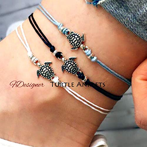 Fdesigner Boho Turtle Anklets Bracelet Set Woven Foot Chain Rope Decorative Beach Jewelry for Women and Girls 3pcs (Style |)