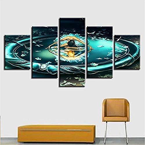 Leinwand Gemälde Wandkunst HD Drucke 5 Stück Gemini Dancing Zodiac Poster Modular Wohnzimmer Comic Bilder Wohnkultur Rahmen @ With_Frame_