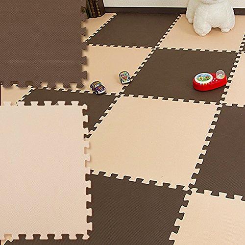 大判 ジョイントマット 32枚セット 55.5×55.5 (ブラウン×アイボリー)