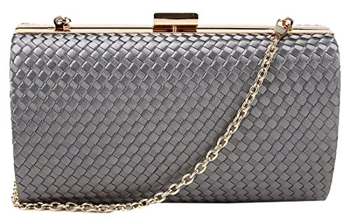 kukubird Laura Crosshatch Material Clutch Bag Purse Party Prom with Dustbag - Grey