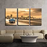 wall26 - 3 Piece Canvas Wall Art - The Sun Setting Over The City of Havana with a View of The Malecon Avenue - Modern Home Art Stretched and Framed Ready to Hang - 24'x36'x3 Panels