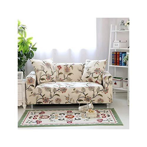 HGblossom Blumendruck Stretch Elastische Sofabezug Baumwolle Sofa Handtuch rutschfeste Sofabezüge Für Wohnzimmer Farbe 12 2 Sitzer Und 3 Sitzer