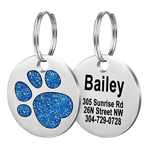 Fibernail Pet ID Tags, Personalized Dog Tags,Cat Tags,Custom Engraved,Easy to Read,4 Lines of Custom Text,Glitter Paw Pet Tag( Blue)