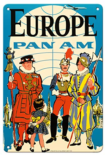 Europe - Pan American World Airways - British Yeomen of The Guard, Pontifical Swiss Guard - Vintage Airline Travel Poster c.1950s - 8in x 12in Vintage Metal Tin Sign