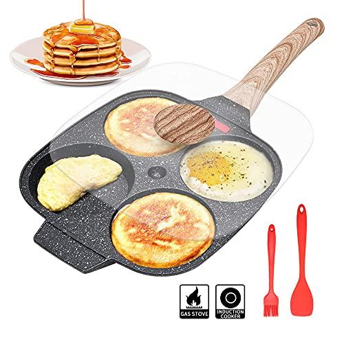 Sartén Tortitas, Sartén Huevos Poche de 4 Agujeros con Tapa Sartén Antiadherente de Aluminio para Desayuno Huevos Fritos Hamburguesas Panqueques, Para Estufas de Gas y Cocinas de Inducción