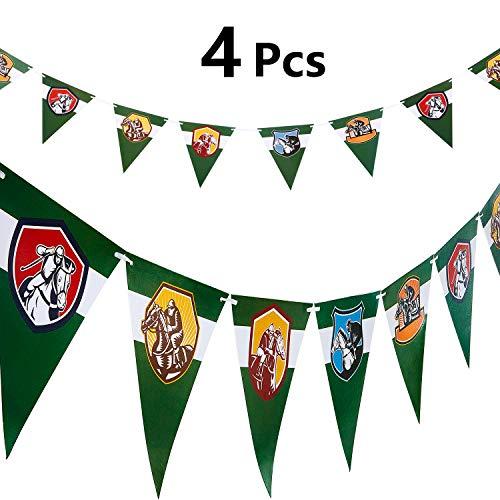 Boao 4 Banderas Banderines de Carrera de Caballos Serpentina de Carrera de Caballos Guirnaldas de Caballo de Derby para Carrera de Caballos, Día de Derby, Decoración de Cumpleaños, Pre-ensamblado
