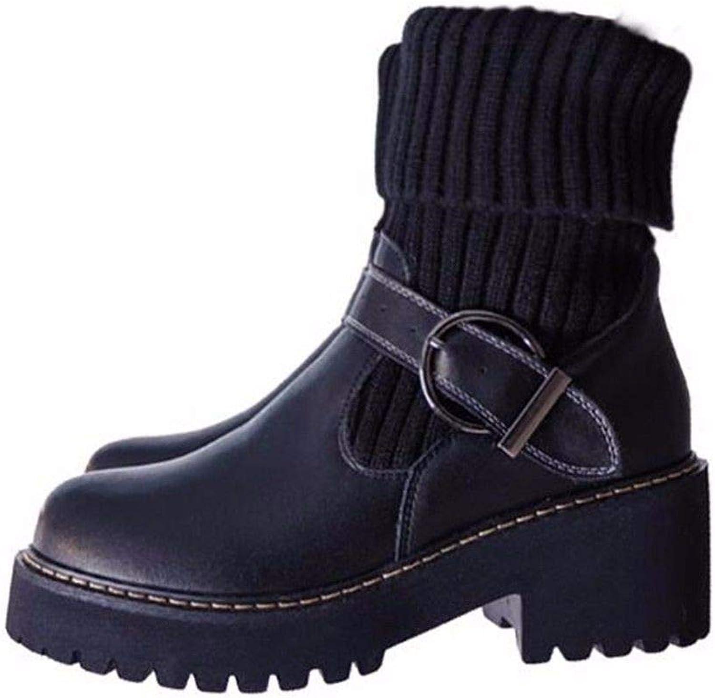 FLYRCX Europäische Mode Persönlichkeit Martin Stiefel mit mit mit Dicker Wolle und Kaschmir Dame warme Rutschfeste Schuhe  e5b094