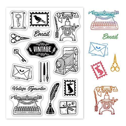 GLOBLELAND Sellos transparentes vintage de la cámara sobre del silicón del sello del sello del sello transparente de silicona para la fabricación de tarjetas decoración y DIY Scrapbooking