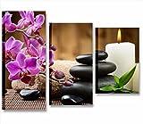 Quadri L&C ITALIA Pietre Zen Candele - Quadro su Tela 85 x 60 cm 3 Pannelli Arredamento Moderno Centro Benessere estetico Stampa Canvas Wellness Relax Spa Sassi Neri Fiori orchideee Rosa Candele