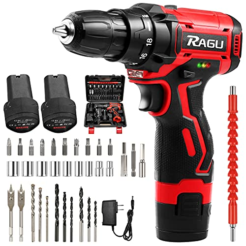 RAGU Cordless Drill Driver 12.6V, 34Pcs Combi Drill Set with 2 Batteries, 18+1 Torque Setting, 3/8' RAGU Chuck 30Nm Max Electric Screwdriver with 2-Speed LED Light for DIY Concrete,Wood Wall