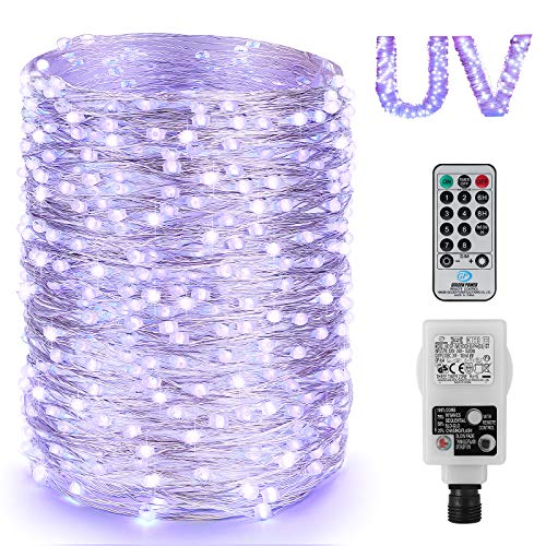 200er LED UV Shwarzlicht LED, Lichterkette Strom Dimmar, 20M UV Licht LED, Lichterkette Innen, 8 Modi UV Lila Licht Lichterketten mit Fernbedienung, Partybeleuchtung für Karneval Bar Club Disco DIY