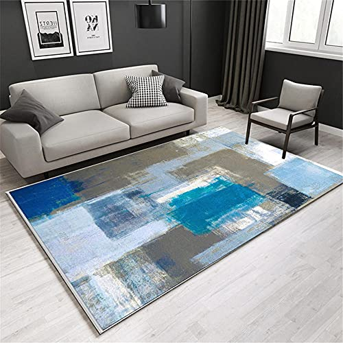 Alfombra alfombras de habitacion Infantil Antideslizante Alfombra de diseño de Tinta Azul Verde Fácil de Limpiar Alfombra recibidor Alfombra Puerta Entrada casa 50*120CM
