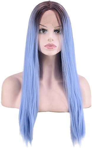 YUMUYMEY Noir Racine Ombre Bleu Perruques pour Les Filles Longues Raides Cheveux Synthétiques Perruque Résistant à La Chaleur Cosplay Robe (Couleur   Photo Couleur)