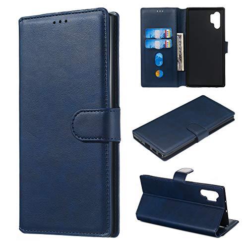 Hülle für Galaxy Note 10+ (Note 10 Plus) Handyhülle Schutzhülle Leder PU Wallet Bumper Lederhülle Ledertasche Klapphülle Klappbar Magnetisch für Samsung Galaxy Note10+ 5G - ZIYY010381 Blau