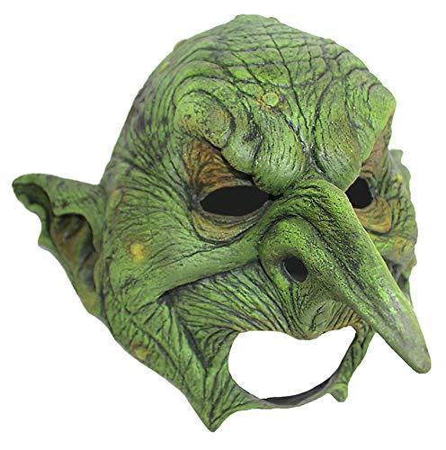 Goblin Kinnlose Halloween Maske - Grün - Gruselige Horror Halloweenmaske - Dämon Hexe Ork Dunkelelf Kobold Zwerg Gnom