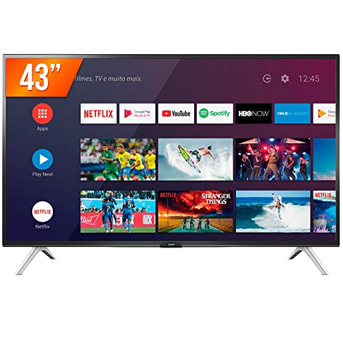Smart TV LED 43'' Full HD Semp 43S5300, 2 HDMI 1 USB, Wi-Fi, Google Assistant, Controle Remoto Com Comando De Voz, Android