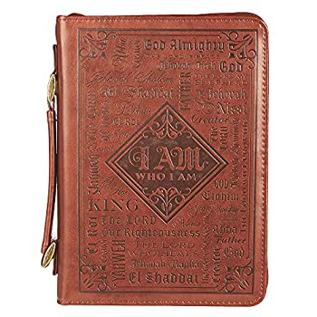 Christian Art Gifts Men s Classic Bible Cover Names of God Exodus 34 6 Brown Faux Leather XL