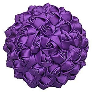 S-SSOY Wedding Bouquet Bride Bridal Simple Solid Color Bouquets Bridesmaid Holding Bouquet Artificial Flowers Valentine's Day Confession Party Church with Corsage, Purple