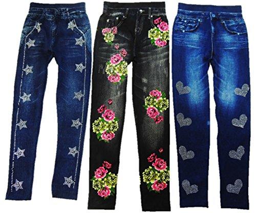 Lot de 3 leggings aspect jeans avec perles et paillettes pour femme Taille XS-M