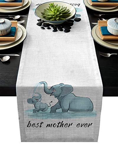 Best Mother Ever Burlap Linen Rectangle Table Runners 13x90in, Elephant Play in Water Dress Scarf Table Cover for Kitchen Birthday Party Wedding Baby-Shower