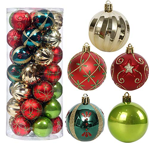 Christmas Tree Ornaments, 35ct Christmas Ball Decoration Set 2.36' Red Green and Gold Christmas Ball Shatterproof Hanging Tree Ornament Set