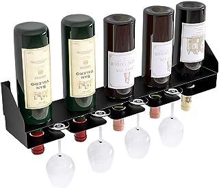 56cm Wall Metal Iron Wall Shelf,Wall Mounted Black Wine Rack holder 5 Bottles and 4 Wine Glass