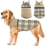 Dog Jacket Winter Dog Coat Reversible Reflective Dogs Apparel Warm Weatherproof British Style Plaid Dog Vest for Small Medium Large Dogs