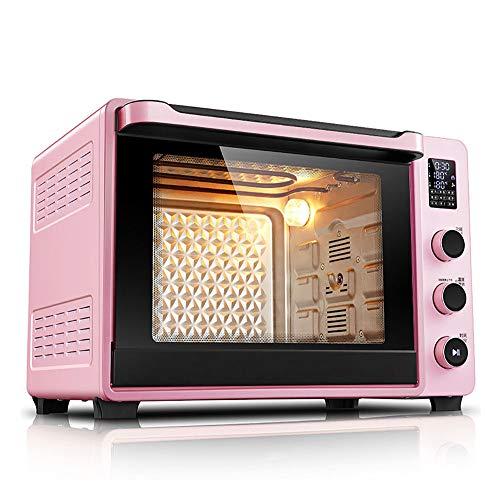 goldensnakes Digitaler Minibackofen mit Umluft,Mini-backofen Mit Kochplatten,Backofen Mit Mikrowelle,Automatischer Minibackofen Für Den Haushalt 40l, Led-anzeige, Doppeltemperaturfühler,Pink