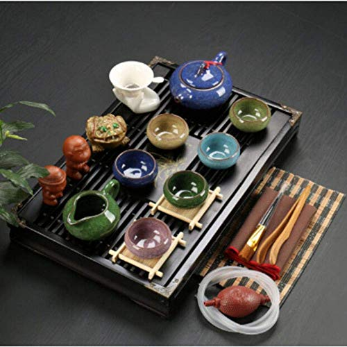 Nfudishpu Juego té Arcilla púrpura cerámica Kung Fu Pot Infusor Bandeja té Madera Maciza Tetera Tazas té Vajilla China Gaiwan, s5