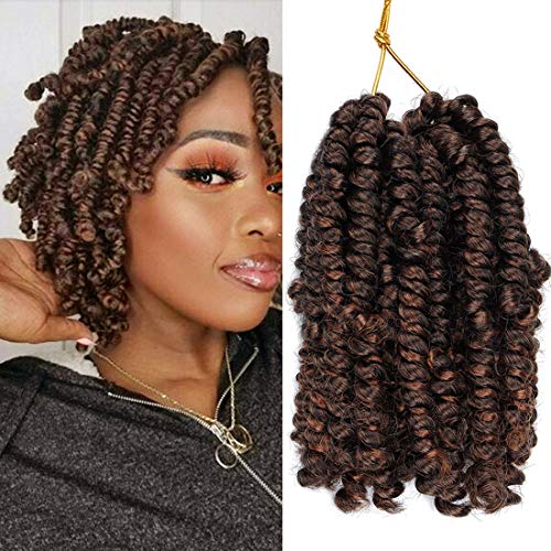 6Inch Curly Pre-twisted Bob Spring Twist Crochet Hair 5 Pack Crochet Twist Braids Synthetic Crochet Hair Extensions 20 Strands/Pack Fiber Fluffy Curly Twist Braiding Hair(1B/30#)
