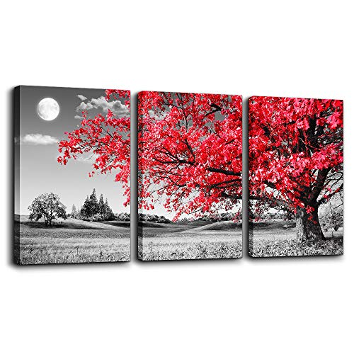 canvas wall art for living room Black and white red tree moon landscape painting bedroom Wall Decor 12' x 16'3 Pieces Ready to Hang for Decorations bathroom Works office family kitchen Prints pictures
