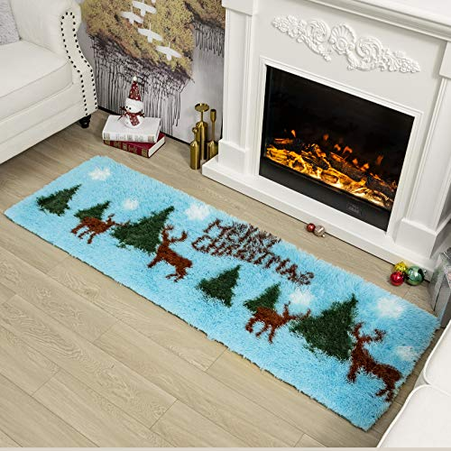 Christmas Fluffy Area Rug for Kids Bedroom, Shag Doormat for Hallway/Entryway/Indoor, Fuzzy Runner Rug for Entrance, Bedside, Christmas Furry Floor Carpet, 2x6 Feet by Maxsoft