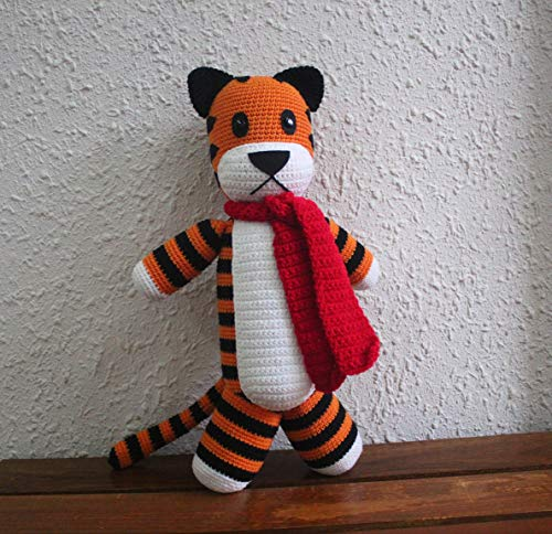 Handmade 14'' Crocheted Hobbes Tiger DELIVERY in 5-7 days