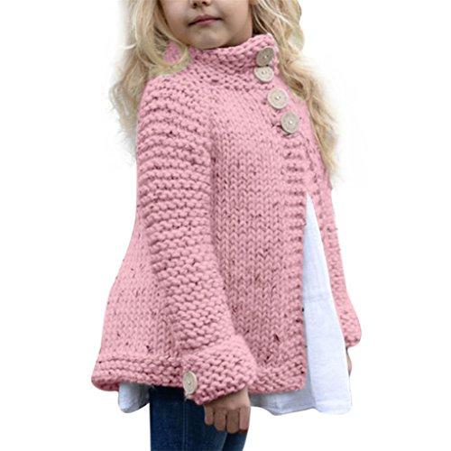 BURFLY Bekleidung Baby MädchenKleidung 2-8 Jahre alte Feste gestrickte Strickjacke-Strickjacke-Jacke Mädchen-Ausstattungs-Kleidung-Knopf-Mantel-Oberseiten (150CM_8 Jahre alt, Rosa)