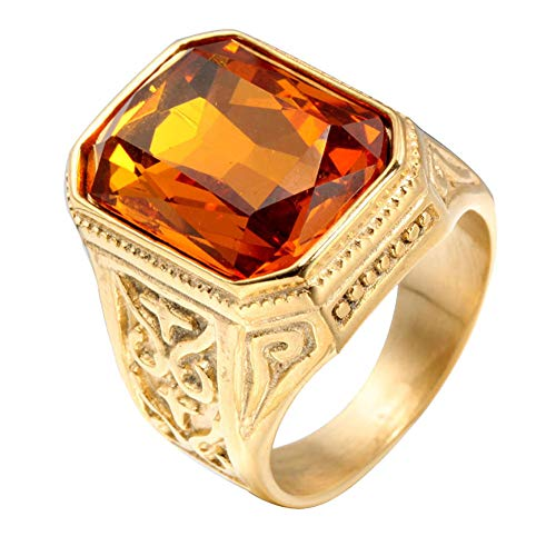 PAURO Hombre Acero Inoxidable Promesa de Boda Vendimia Anillo de Circonia Cúbica con Piedra Grande Oro Naranja Tamaño 27