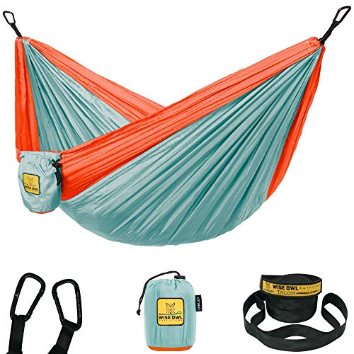 Wise Owl Outfitters Kids Hammock for Camping The Owlet Kid Child Toddler or Gear Sling Hammocks - Perfect Small Size for Indoor Outdoor or Backyard - Portable Parachute Nylon – Blue/Org
